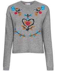 RED Valentino - Floral Embroidered Sweater - Lyst