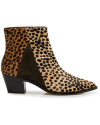 Ulla Johnson Lola Leopard Ankle Boots - Brown