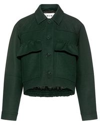 Carven - Ruffle Pockets Quilted Crop Jacket - Lyst