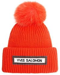 Meteo by Yves Salomon - Fox Fur Pom Pom Wool-blend Beanie - Lyst