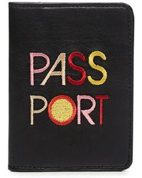 """Lizzie Fortunato - Embroidery """"passport"""" Leather Passport Cover - Lyst"""