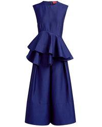 Solace London Alisa Peplum Wide-leg Cropped Jumpsuit - Blue
