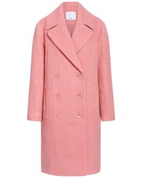 Tibi Luxe Mohair Double Breasted Coat - Pink