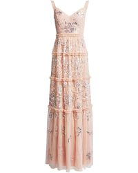 Needle & Thread Floral Gloss V-neck Sequin Maxi Dress - Pink