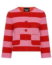 Boutique Moschino - Striped Waffle-knit Cotton Cropped Blazer - Lyst