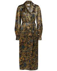 Ganni Camo Print Heavy Satin Dress Trench Coat - Green
