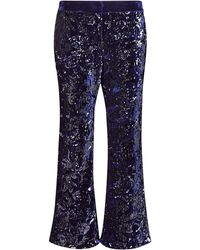 Alexis Pace Sequin Flare Cropped Pants - Blue