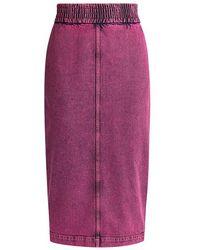 N°21 Vintage Washed Denim Pencil Skirt - Purple