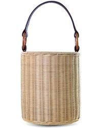 Kayu Reta Wicker Bucket Handbag - Brown