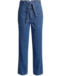 Sea Marble High-rised Belted Straight-leg Jeans - Blue