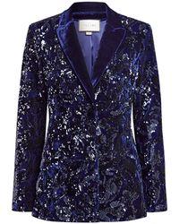 Alexis Rashida Velvet Sequin Blazer - Blue