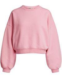 Agolde Balloon Sleeve Cropped Sweatshirt - Pink