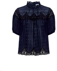 Rebecca Taylor - High Neck Lace Blouse - Lyst