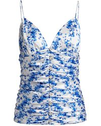 Caroline Constas Mimi Floral Ruched Cami - Blue