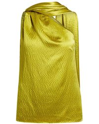 Brandon Maxwell Hammered High Neck Silk Satin Top - Metallic