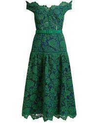 Self-Portrait - Floral Lace Off-the-shoulder Midi Dress - Lyst
