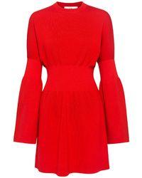 Tibi Merino Wool Bell Sleeve Knit Mini Dress - Red