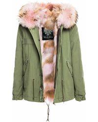Mr & Mrs Italy Coyote Fur Army Mini Parka - Green