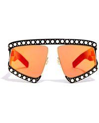 Gucci - Pearl Mirrored Oversized Squared Sunglasses - Lyst