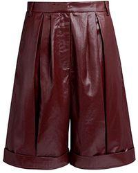 Tibi Pleated Faux Leather Shorts - Multicolor