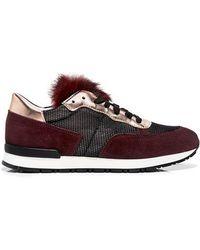 Pollini Mesh-paneled Metallic And Fur Suede Sneakers - Multicolor