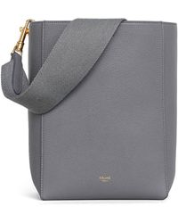 Celine Sangle In Soft Grained Calfskin Small Bucket Bag - Gray