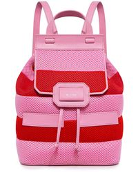 Boutique Moschino Honeycomb Striped Backpack - Red