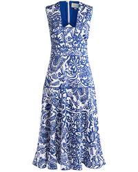 Alexis Marianna Printed Cut-out Back Midi Dress - Blue