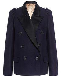 N°21 - Cirila Satin Lapel Double Breasted Jacket - Lyst