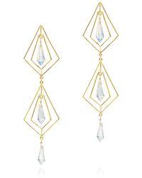 Mercedes Salazar Geometric Crystal Earrings - Metallic