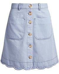 Sea Dakota Scalloped Denim Mini Skirt - Blue