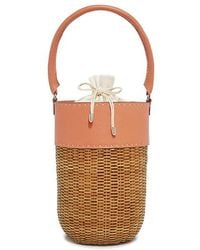 Kayu - Lucie Leather-trimmed Wicker Bucket Bag - Lyst