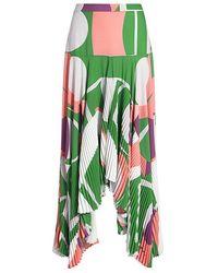 Alexis - Liann Geometric Pleated Asymmetrical Midi Skirt - Lyst