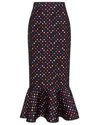 Saloni - Portia Polka Dots Ruffle Midi Mermaid Skirt - Lyst