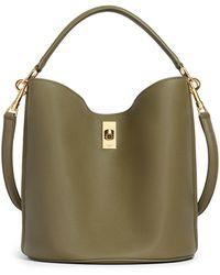 Celine 16 In Supple Grained Calfskin Bucket Bag - Green