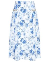 Mother Of Pearl - Dorcus Pearl And Floral Neoprene Midi Skirt - Lyst