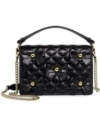 Boutique Moschino - Quilted Leather Bow Studs Chain Strap Crossbody Bag - Lyst