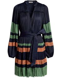 Ulla Johnson Alia V-neck Stripe Pleated Mini Dress - Blue