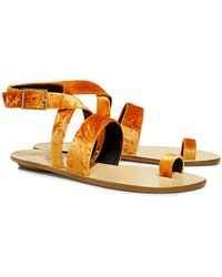 Tibi Hallie Velvet Ankle Strap Sandals - Metallic