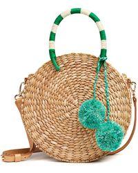 Kayu Isabel Circle Woven Pom Pom Shoulder Bag - Multicolor
