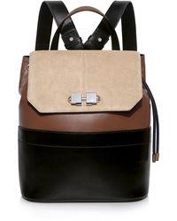 Carven Full Joy Color-block Suede And Leather Shoulder Strap Backpack - Black