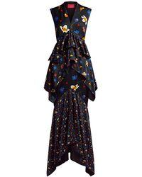 Solace London Chayse Floral Ruffled Midi Dress - Black