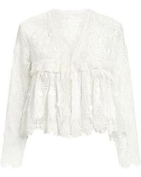 Alexis - Betrice Lace Sheer Ruffle Cropped Top - Lyst
