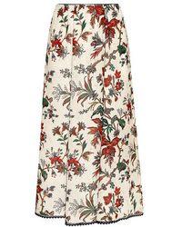 McQ - Fluid Floral Gather Midi Skirt - Lyst
