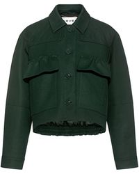 Carven Ruffle Pockets Quilted Crop Jacket - Green