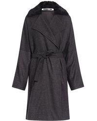 McQ - Faux Fur Collar Wool Check Kimono Wrapped Coat - Lyst