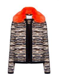 Carven Fur Collar Knit Jacket - Black