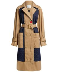 Tibi Finn Twill Quilted Trench Coat - Natural