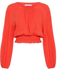 Apiece Apart Palizada Balloon Sleeves Cropped Blouse - Red