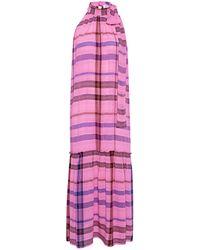 Apiece Apart Solazure Plaid Tie Neck Maxi Dress - Pink